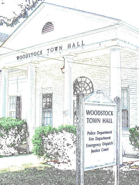 Woodstock Town Hall /  Colourful outlines artwork.