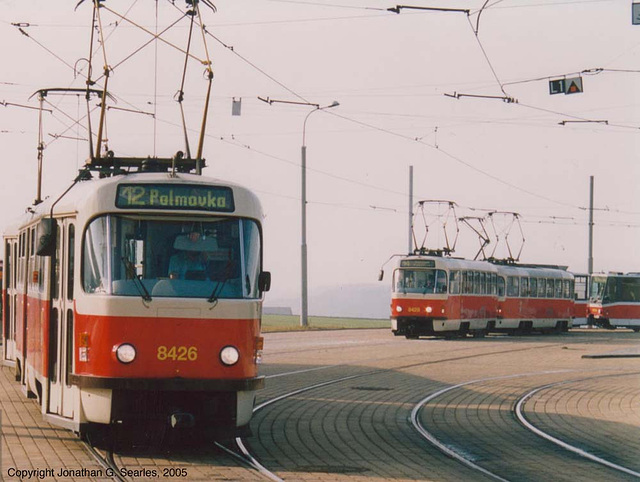 Tatra T3 and T6A5 trams, Sidliste Barrandov, Prague, CZ, 2005