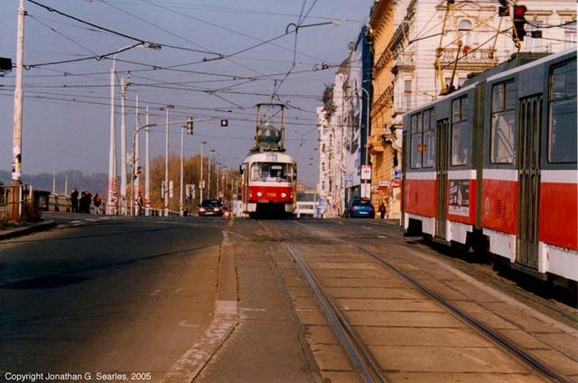 Trams, Palackeho Namesti, Prague, CZ, 2005