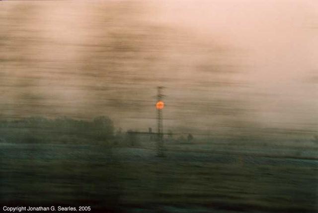 Sunrise at 160km/h, Bad Schandau-Dresden mainline, Germany, 2005