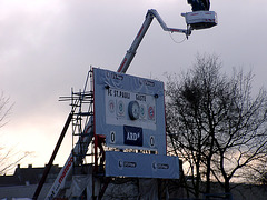 Scoreboard in pokal-design with television-crane