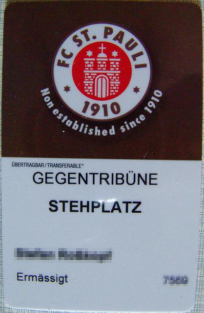 Dauerkarte FC St. Pauli (Vorderseite)