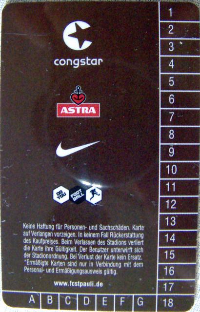 Dauerkarte FC St. Pauli (Rückseite)