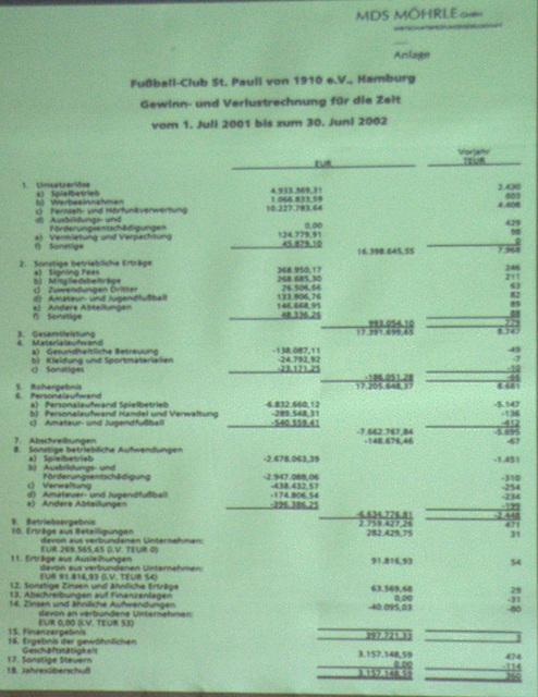 Gewinn- und Verlustrechnung (01.Juli 2001 - 30.Juni 2002)