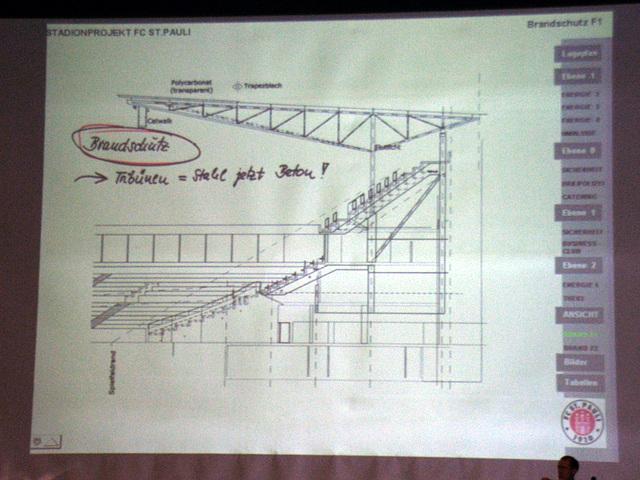 Tribünenkonstruktion, erst Stahl, nun aus Beton, wegen Brandschutz und so...