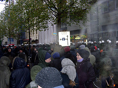 Demonstration im Polizei-Wanderkessel