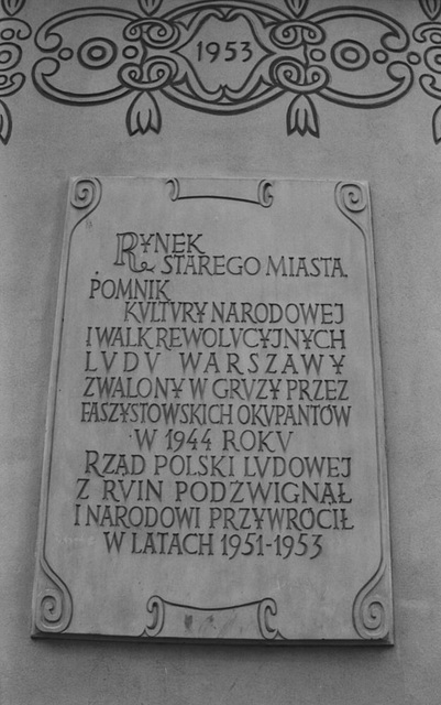 Plaque, Starego Miasta (Old City), Warsaw, Poland, 2007