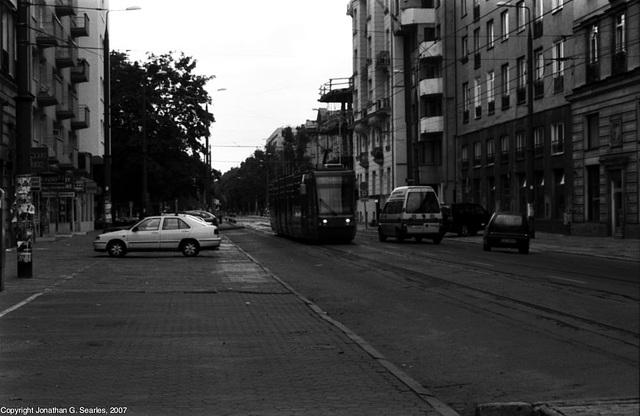 Tram Approaching Politechnika, Warsaw, Poland, 2007
