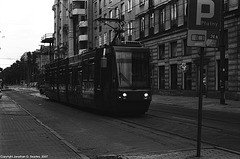 Tram Approaching Polytechnika, Picture 2, Warsaw, Poland, 2007