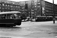 Trams At Nowowiejska and Chałubińskiego Intersection, Warsaw, Poland, 2007