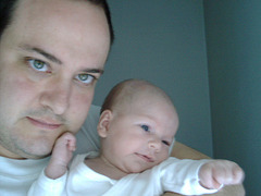 Mi kaj mia filino Jasna, kiam ŝi estis iom pli ol 1-monata, en majo 2003
