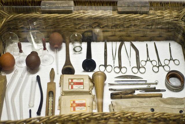 Ancient midwife's set of instruments