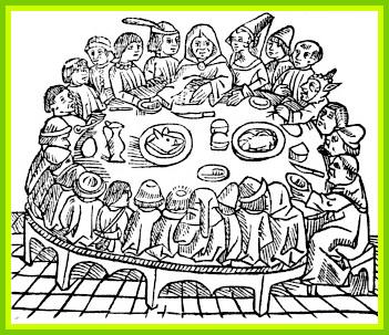 Le repas des pèlerins, gravure de  William Caxton