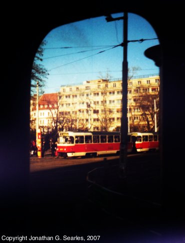"Tram In ""Arch,"" Karlovo Namesti, Prague, CZ, 2007"