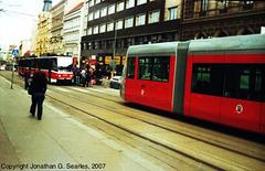 Trams, Karlovo Namesti, Prague, CZ, 2007