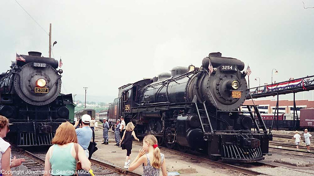 ex-CN #2317 and #3254 At Steamtown During the 1995 NRHS Convention, Scranton, PA, USA, 1995