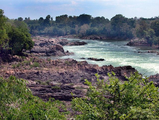 The Mekong divides Laos and Cambodia