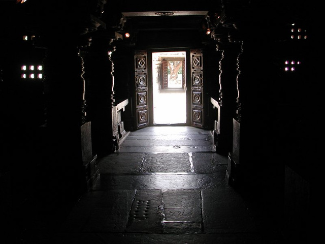 from inside the old temple