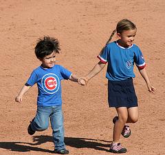 Kids Running The Bases at Hohokam Stadium (0863)