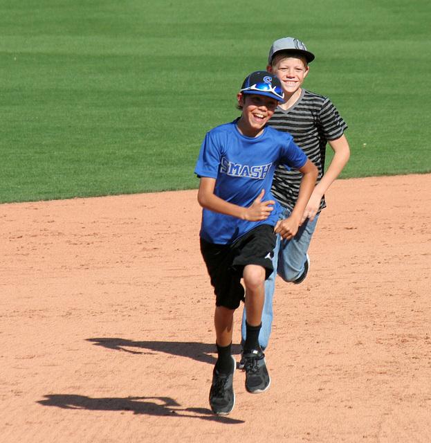 Kids Running The Bases at Hohokam Stadium (0819)