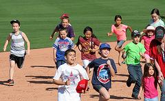 Kids Running The Bases at Hohokam Stadium (0777)
