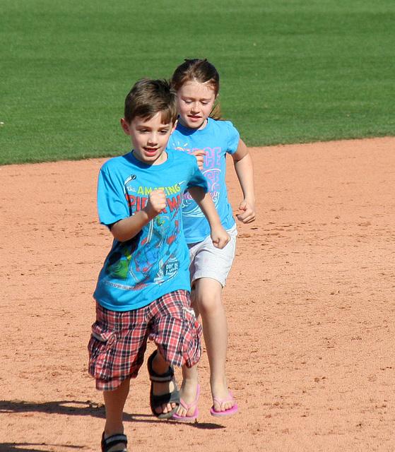 Kids Running The Bases at Hohokam Stadium (0800)