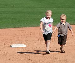 Kids Running The Bases at Hohokam Stadium (0804)