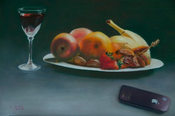 still life with I Phone. Painting in pastel.