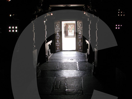 from inside the temple