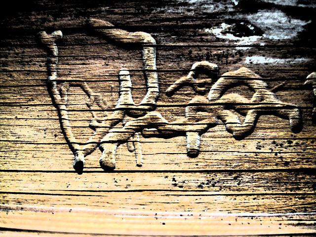 alte Zeichnung und Schriftzeichen