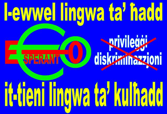 Eo,  l-ewwel lingwa ta' ħadd, it-tieni lingwa ta' kulħadd