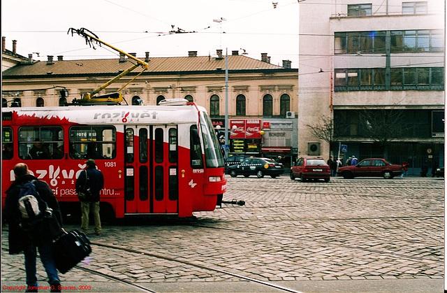 Brno Tram #1081 At Hlavni Nadrazi, Brno, Moravia(CZ), 2005