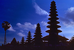 Silhouettes of temples on Bali