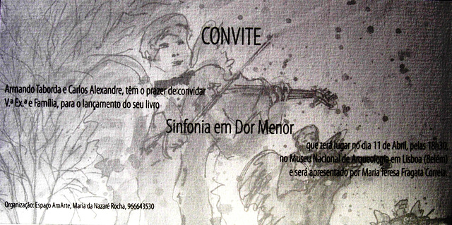 "Facsimile of the invitation for the new titlle session of ""Sinfonia em Dor Menor """
