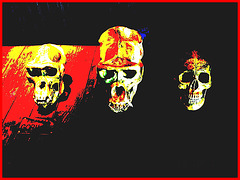 Têtes de squelettes / Happy faces - Modifiées avec photofiltre / Disneyworld. 29 décembre 2006.