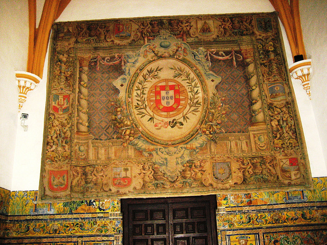 Sevilla, Alcázar, tapestry with the Portuguese coat of arms