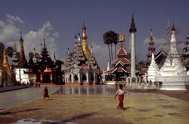 At the Shwedagon Pagoda, Rangoon, Burma