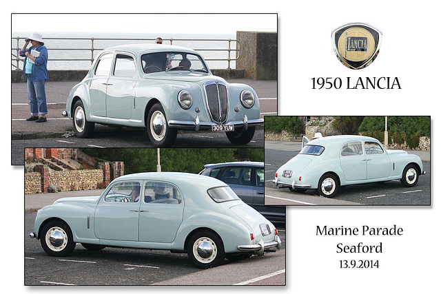 Tour of Britain - spectator transport - Lancia Aurelia B12 - 1950 - Seaford - 13.9.2014