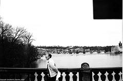 Prague Bridges From Most Legii, B&W Version, Prague, CZ, 2005