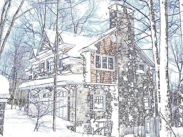 Maison luxueuse / Luxurious house.  St-Benoit-du-lac. Québec. CANADA -  Contours de couleurs