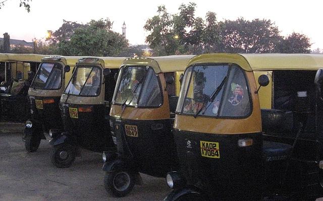 Autorickshaws at rest