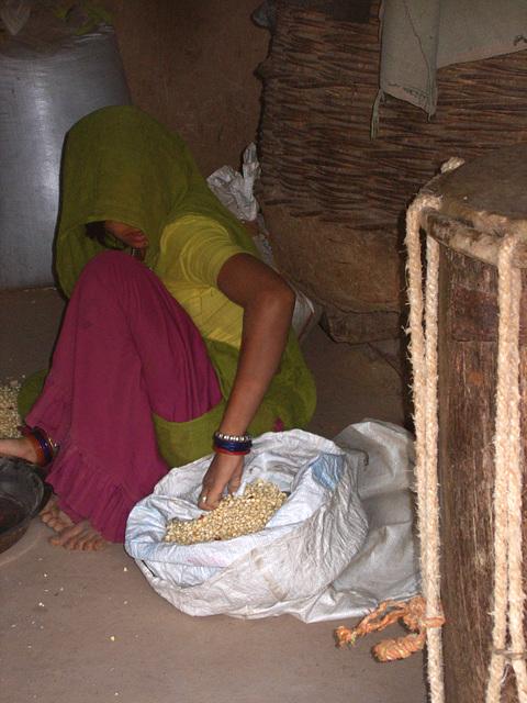 Rajasthani lady inside the hut