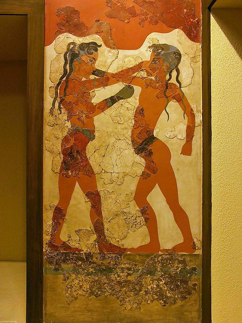 PICT17142ac Santorini Island Akrotiri Fresco of the Two Boxing Children 16th century BC
