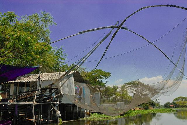 Fishing net over the Khlong Onnut
