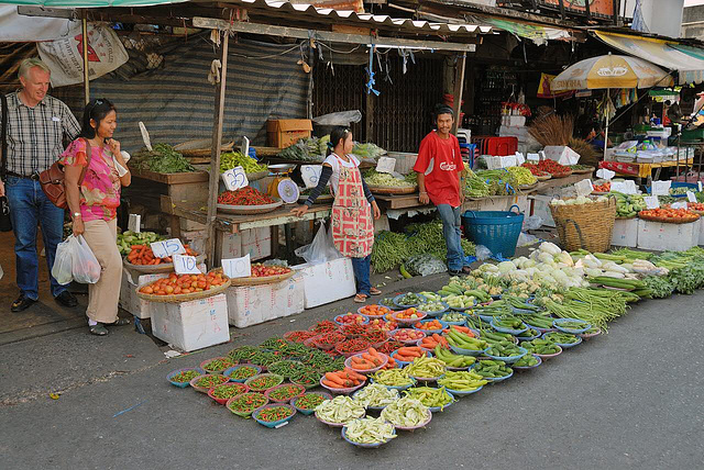 Fresh vegetables sold at the Min Buri market