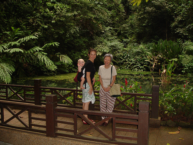 Aunty Liok Ee, Sa and Stella at Spice Gardens.