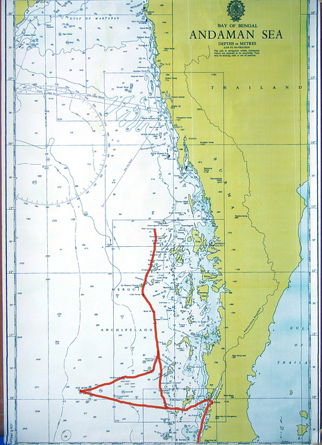 Our tour route marked in the sea map