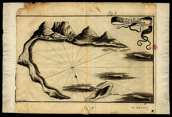 Discoveries, Cape Town Bay, old map