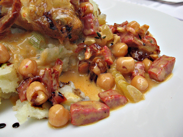Roast chicken, chickpeas, and chorizo...with mash