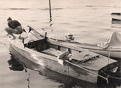 young man in dreiecksbadehose on his boat 1930'